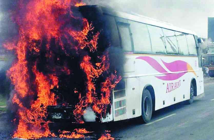 चेन्नई के पास केएसआरटीसी बस में लगी आग,बाल-बाल बचे यात्री