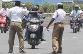 हैदराबाद पुलिस ने अपने साथियों का किया ट्रैफिक चालान