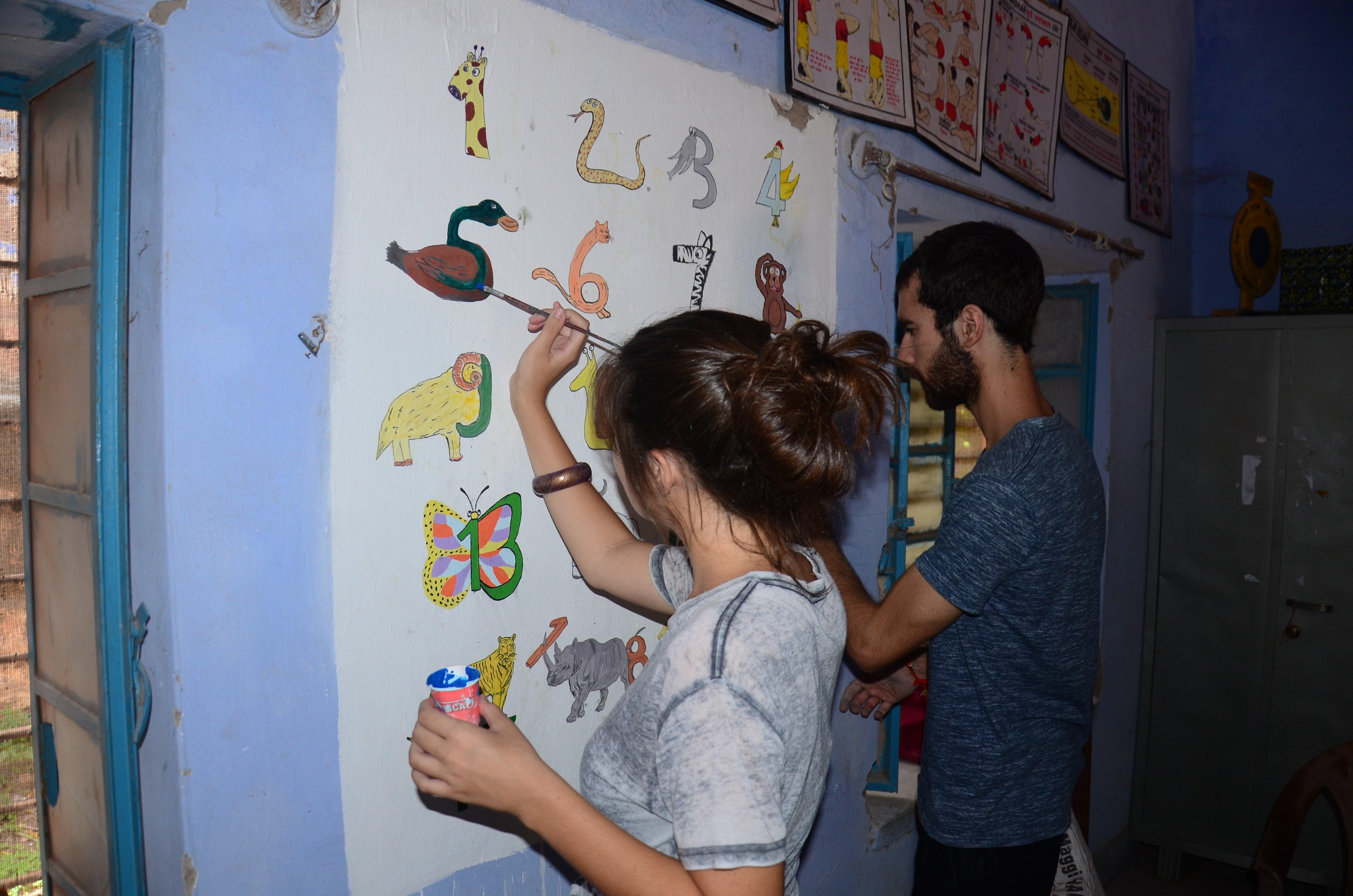 foreigners teaching Indian kids in Jodhpur