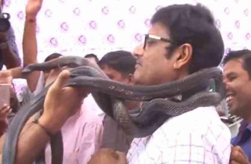 ...जब राजस्थान में मंत्री को फूलों की जगह पहनाई सांपों की माला, देखिए वीडियो