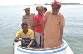 देखें तस्वीरें: टोंक @ कृषि मंत्री प्रभुलाल सैनी ने मोटर बोट से बीसलपुर बांध का किया निरीक्षण