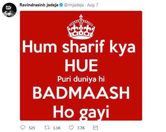 Ravindra Jadeja Showed DABANGAI at Twitter 1st than Delete Tweet