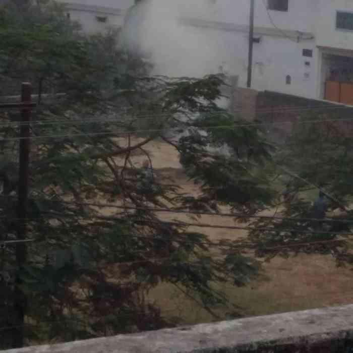 महमनापुर कालोनी पार्क में जलता कूड़ा