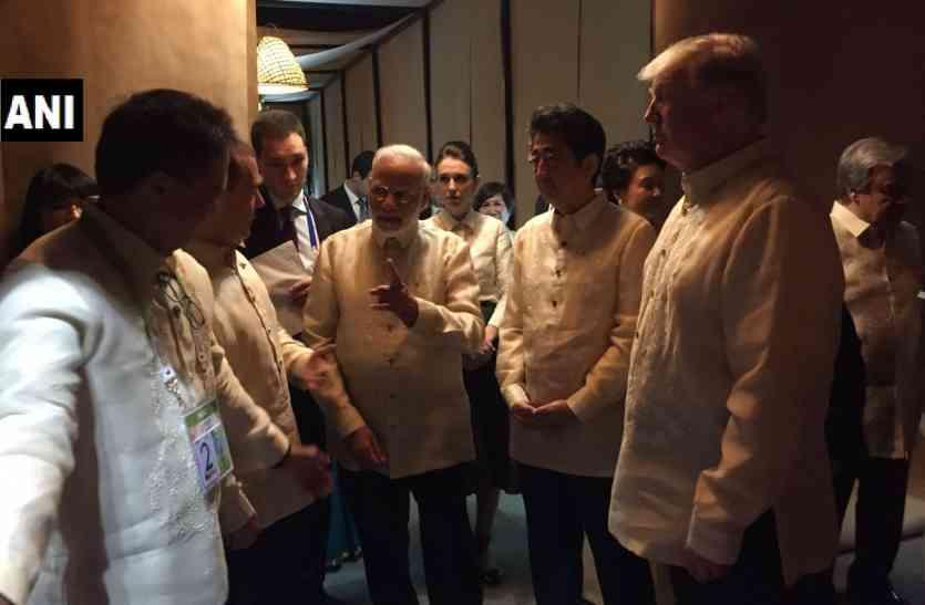 ASEAN समिट: एक ही रंग में रंगे मोदी-ट्रंप और शिंजो आबे, द्विपक्षीय मीटिंग आज