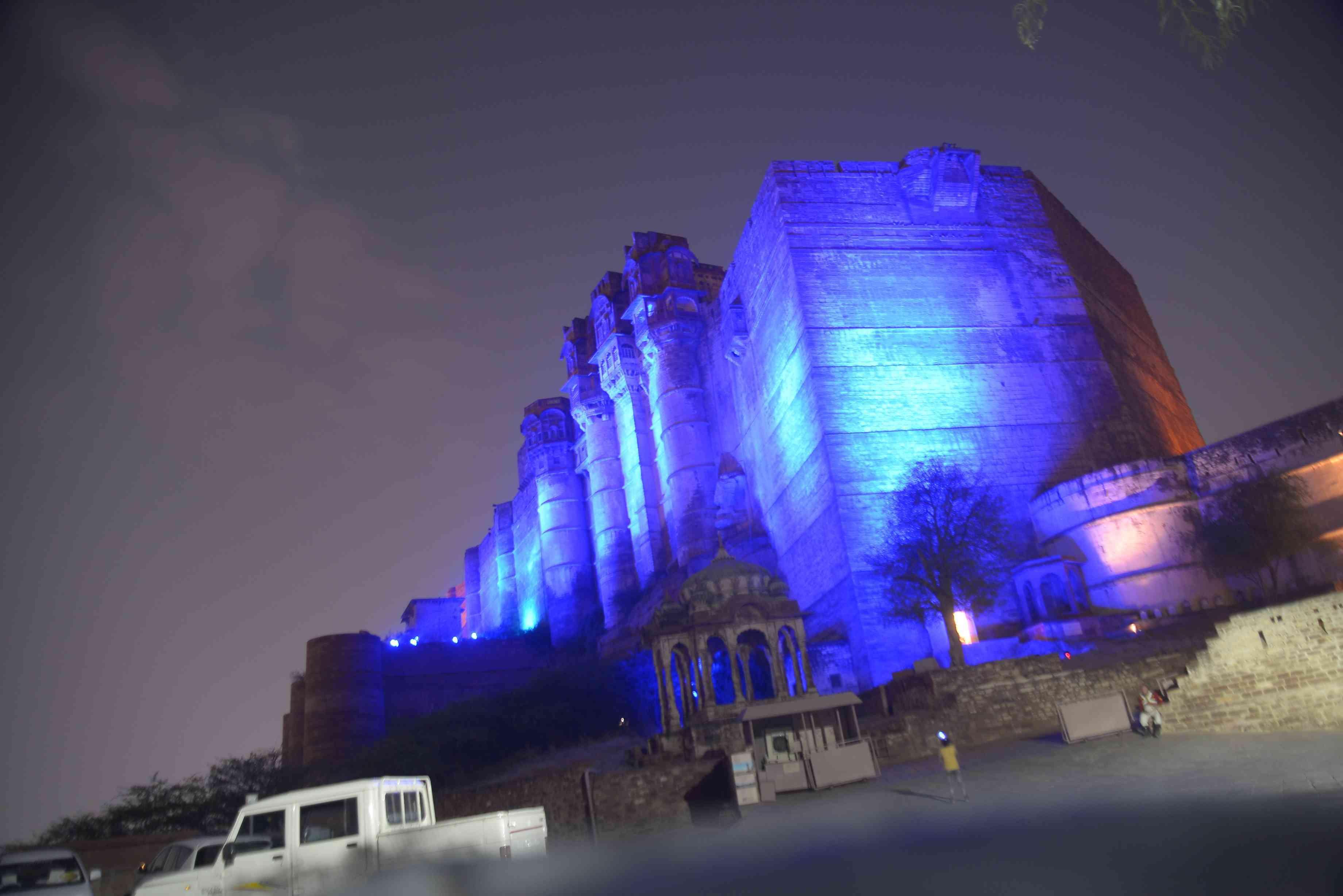 Jodhpur fort enlightened with blue light for diabetes awareness