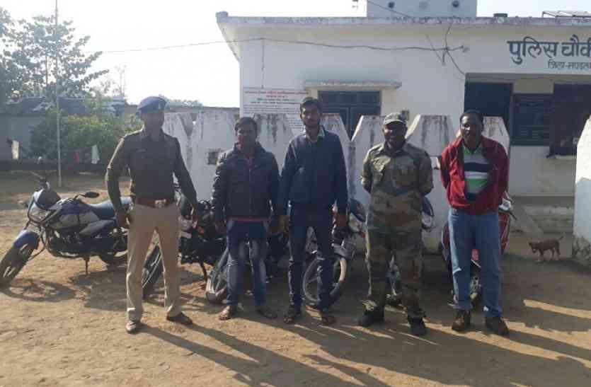 पुलिस की गिरफ्त में बाइक चोर