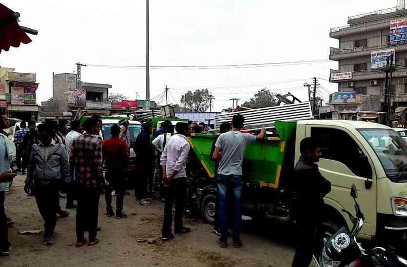 नागौर में नगर परिषद टीम ने दुकानों के आगे से हटाए अस्थाई अतिक्रमण