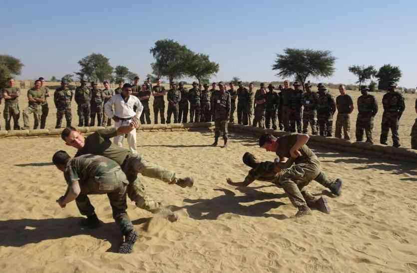युद्धाभ्यास में सैनिकों ने किया निहत्थे सैनिकों के साथ सामना करने का प्रशिक्षण
