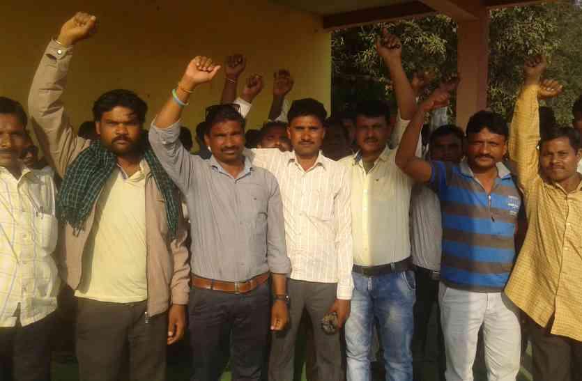 हक व अधिकार पाने राज मिस्त्रीयों ने शुरू की हड़ताल