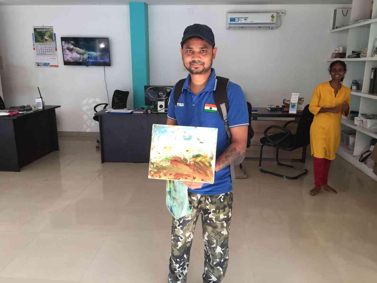 ajmer boy made underwater painting in Indian ocean