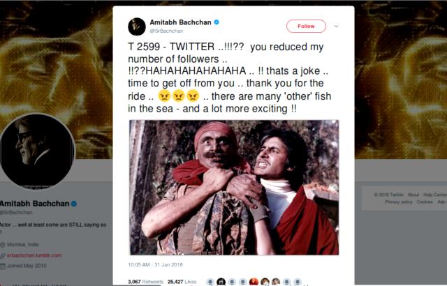 Amitabh Bachchan Twitter quit post