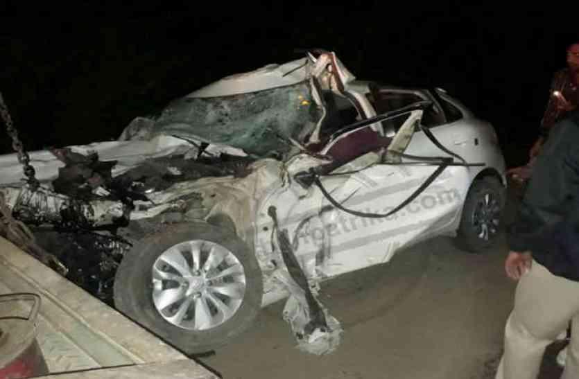 कार ट्रक से टकराई, दो साढू समेत तीन की मौत
