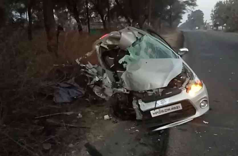 बारात लेकर जा रही बस ने कार को मारी टक्कर एक की मौत