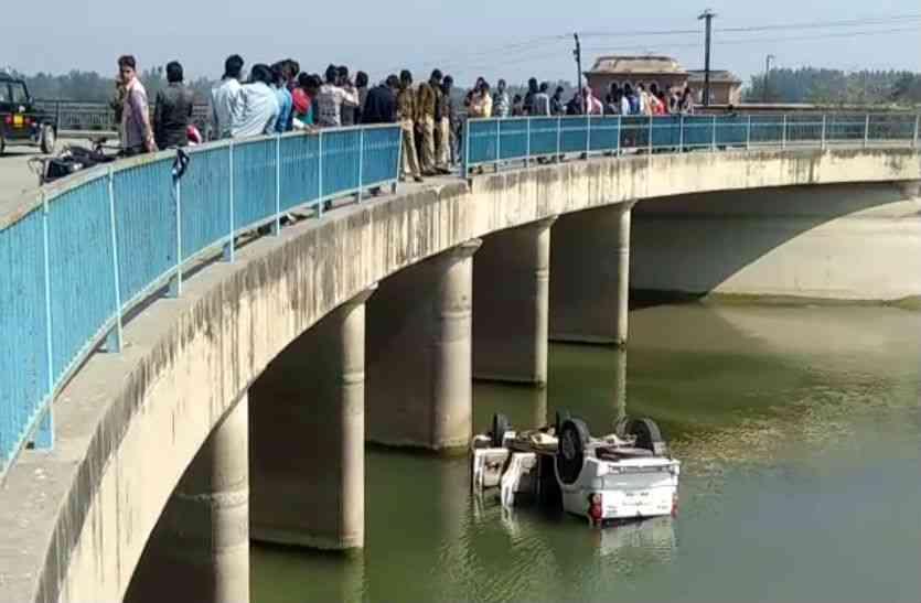 VIDEO: स्कार्पियो कार नहर में गिरी, युवक की मौत