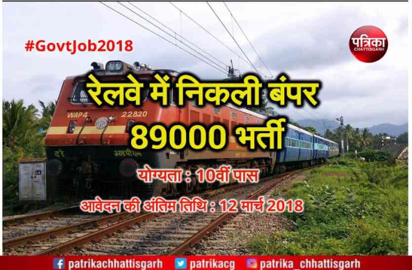 10वीं पास के लिए रेलवे में निकली बंपर 89,000 भर्ती, आवेदन की अंतिम तारीख 12 मार्च