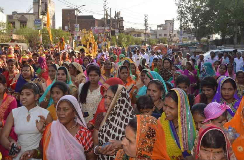भक्त शिरोमणी कर्मा देवी जयंती पर निकला चल समारोह