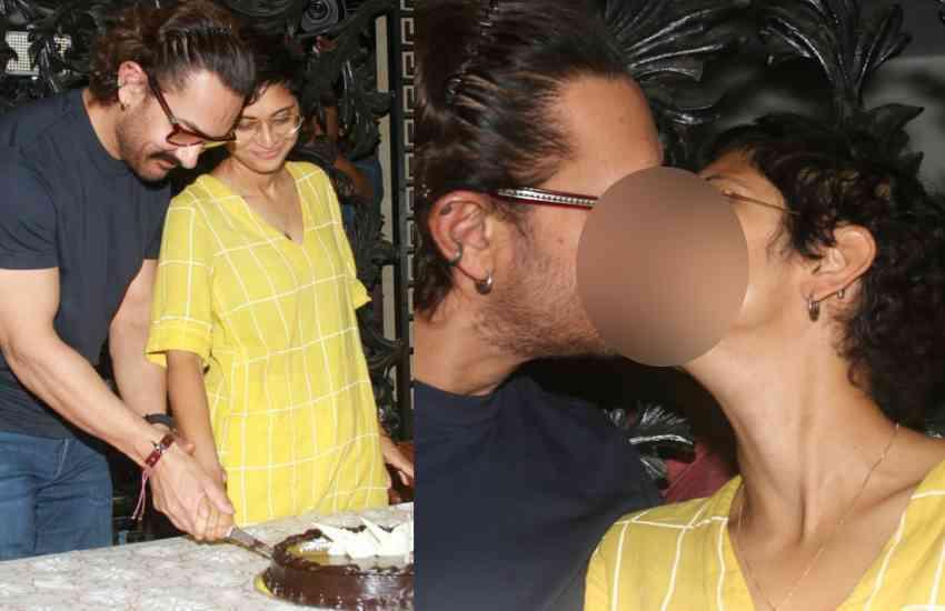AAMIR KHAN PHOTOS: केक काटा, लिपलॅाक किया, खिचवाई फोटो...ऐसे सेलिब्रेट किया आमिर ने बर्थडे