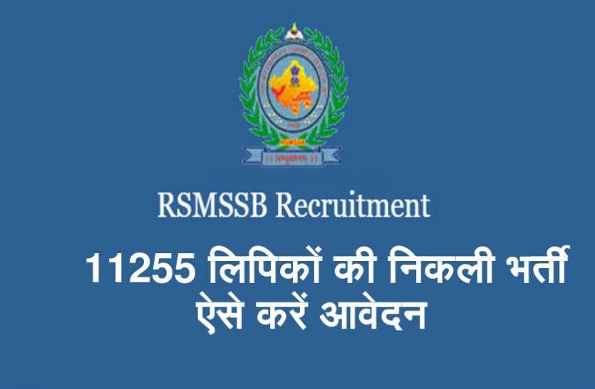 RSMSSB Clerk Recruitment 2018 में निकली 11255 लिपिकों की भर्ती