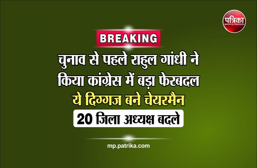 चुनाव से पहले राहुल गांधी ने किया कांग्रेस में बड़ा फेरबदल, ये दिग्गज बने चेयरमैन, 20 जिला अध्यक्ष बदले