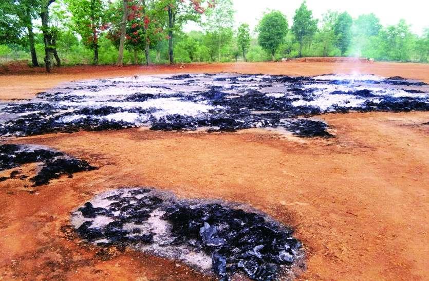 अज्ञात लोगों ने 549 बोरा तेंदूपत्ता को किया आग के हवाले, विभाग को लगी साढ़े 13 लाख की चपत