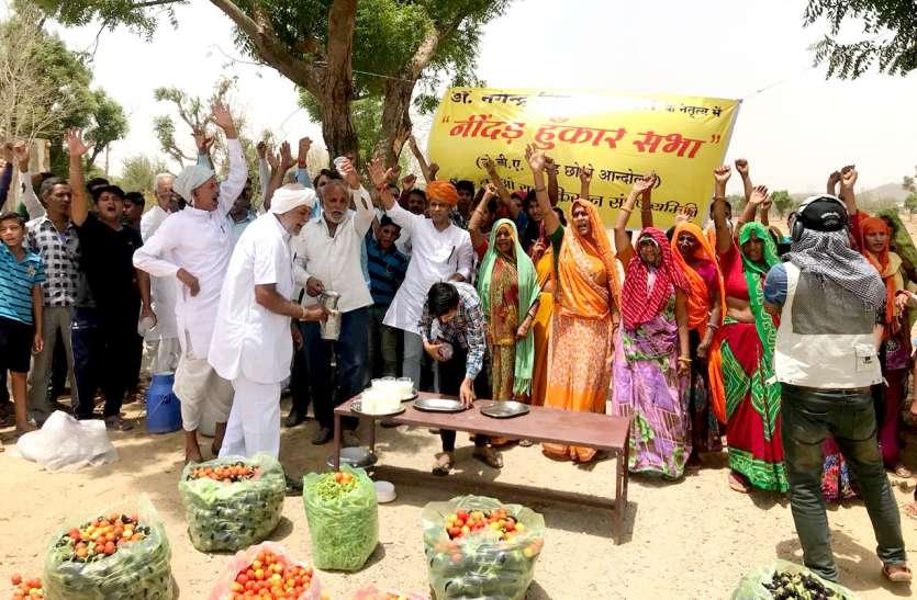 किसान मुफ्त बांट रहे दूध-सब्जी