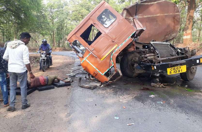 कपोट नाला के पास टैंकर को ट्रेलर ने मारी टक्कर, केबिन में फंसा रहा चालक, अस्पताल में मौत