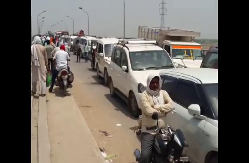 यूपी के इस जिले में 7 घंटे जाम, दोनों तरफ गाड़ियों की लगी लंबी कतार