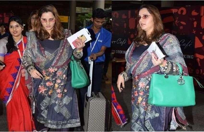 सानिया मिर्जा बेबी बंप के साथ मुंबई एयरपोर्ट पर हुई स्पॉट, देखिए फोटोज