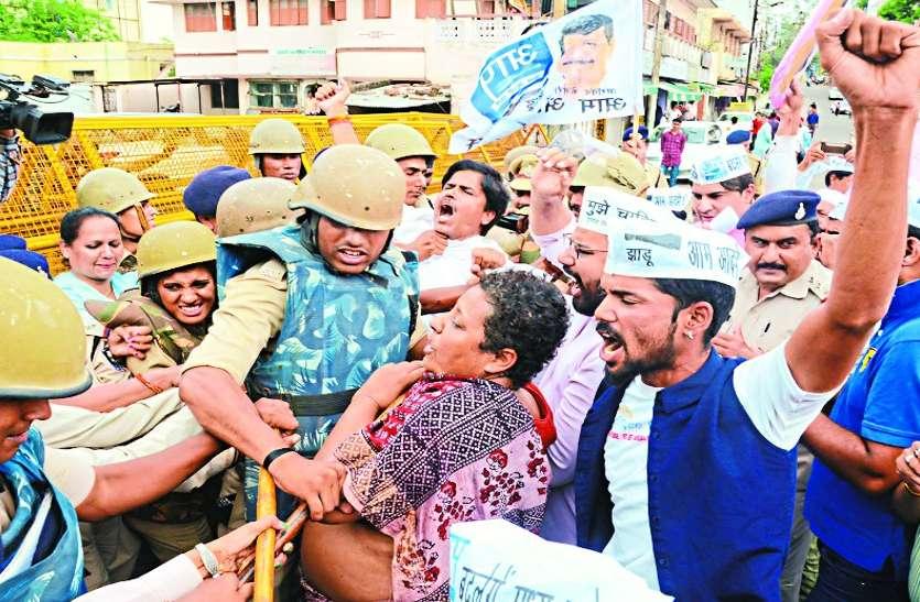 mandsaur gang rape case : आप ने किया प्रदर्शन, राष्ट्रपति शासन की मांग