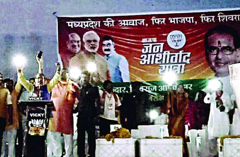 Jan Ashirwad Yatra: CM के कार्यक्रम में भी बिजली गुल, मोबाइल टॉर्च की रोशनी में हुई सभा
