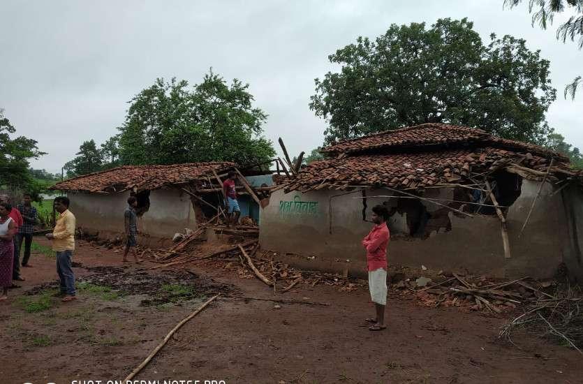 Broken house by elephants