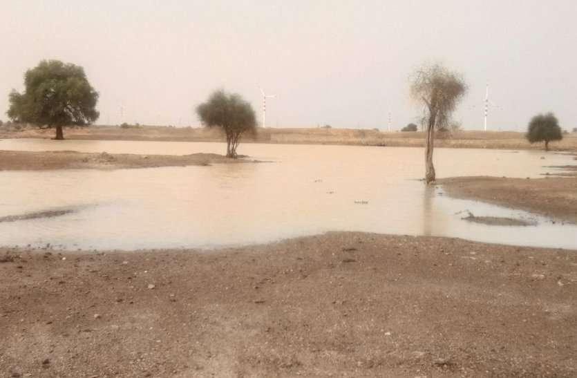 जैसलमेर में १३.४ एमएम बारिश,जगह-जगह भरा पानी