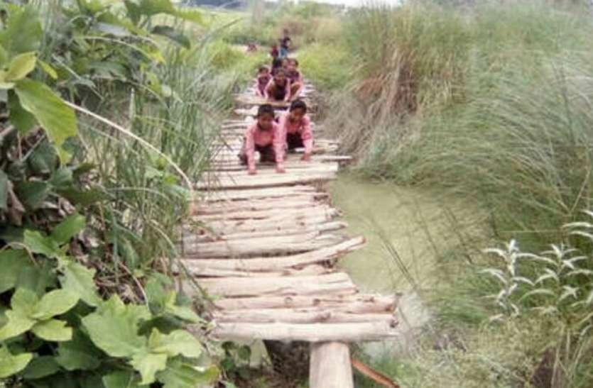 इक्कीसवीं सदी में भी इस जानलेवा पुल से सफर करते हैं देश के नौनिहाल, माननीयों का नहीं गया ध्यान