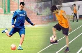 PICS: महेंद्र सिंह धोनी और 'धड़क' फेम ईशान खट्टर जब फुटबॉल मैदान में एक-दूसरे से भिड़े