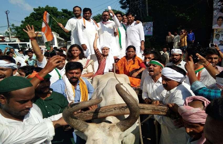 BJP के गढ़ में कांग्रेस और किसानों का हल्ला बोल