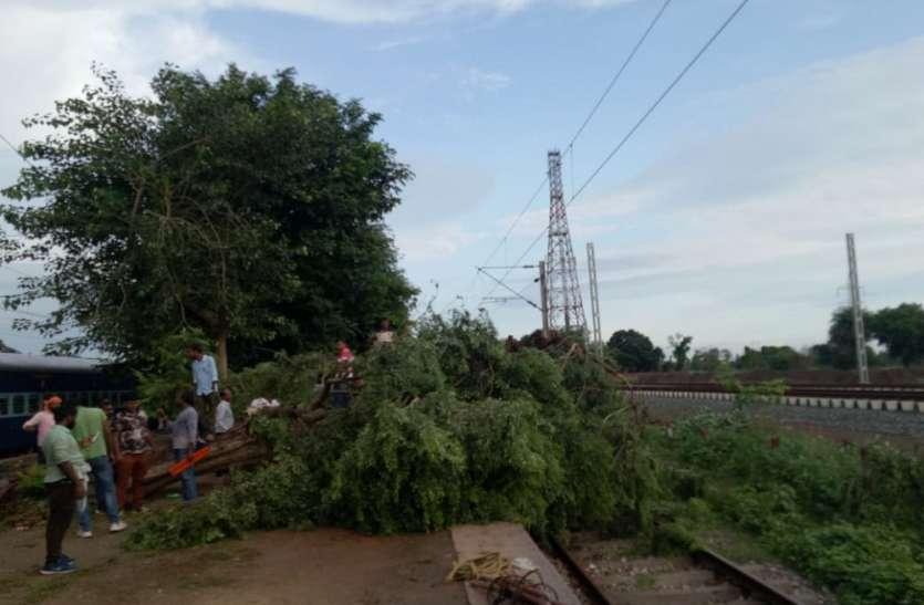 आंधी के कारण जसवंतनगर मे रेलवे लाइन पर पेड़ टूट कर गिरा, पावर सप्लाई लाइन टूटी