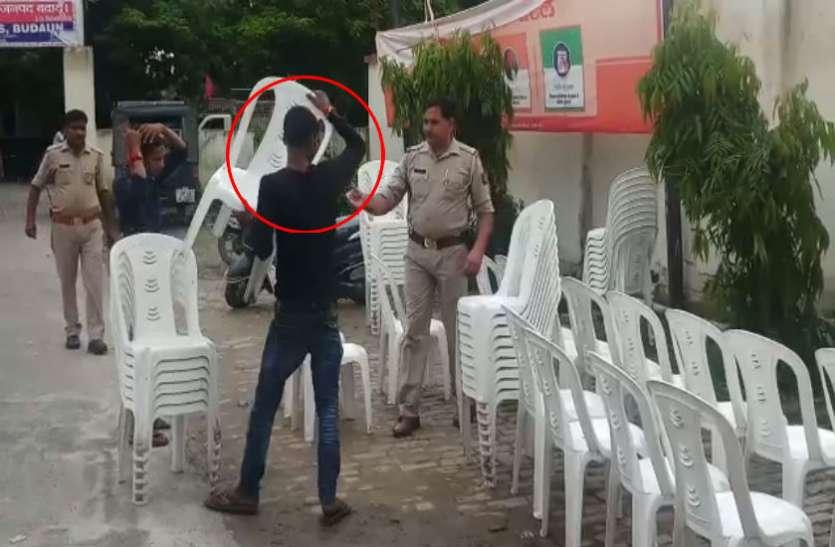 पुलिस की सरपस्ती में आरोपी थाने में करता दिखा काम, देखें वीडियो