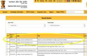 RPSC कॉलेज लेक्चरर भर्ती (हिंदी) परीक्षा 2014 का रिजल्ट जारी, यहां पर देखें