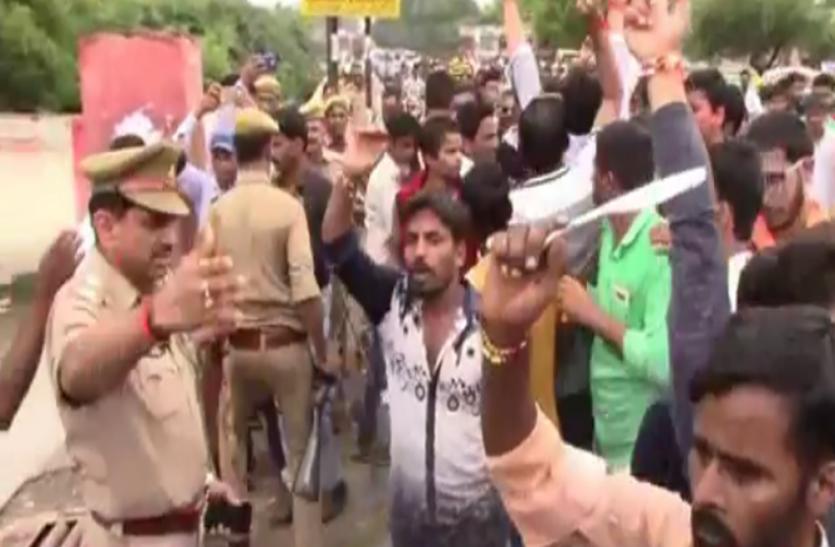 sc/st एक्ट के विरोध में सवर्ण समाज ने किया भारत बंद, दुकान बंद न करने पर किया हंगामा