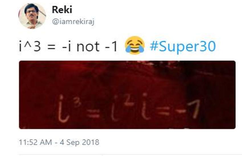 'सुपर 30' के पोस्टर को लेकर छिड़ी बहस, यूजर ने बताया गणित के फॉर्मूले को गलत