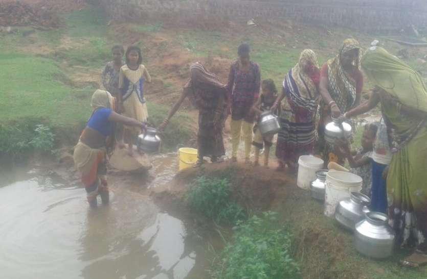 पोखर का पानी पीकर चुका रहे विकास की कीमत