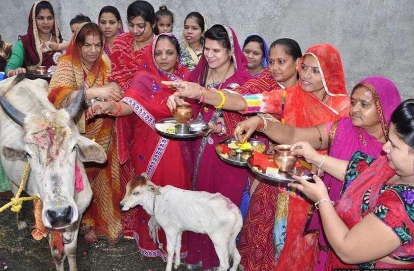 महिलाओं ने गाय-बछड़े को पूजा