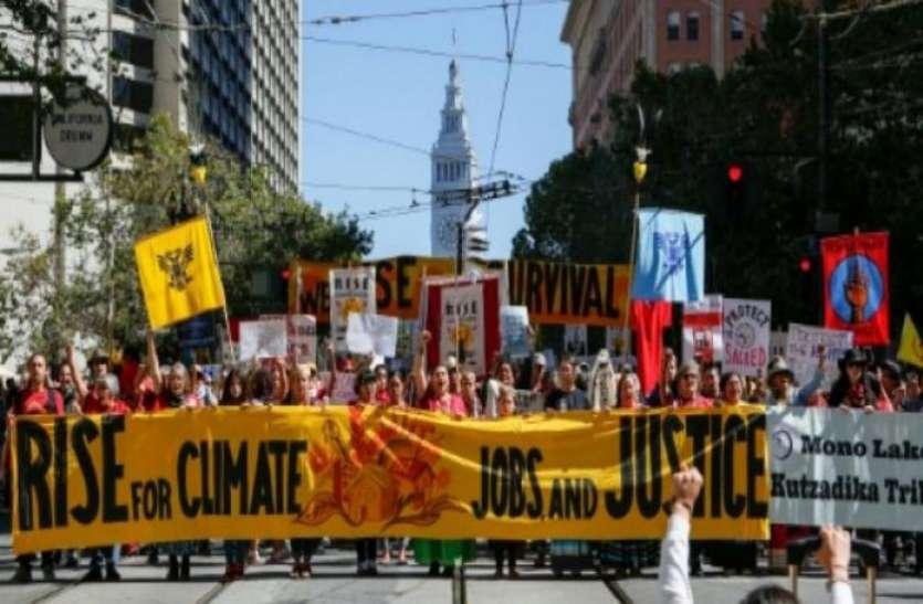 जलवायु सम्मेलन से पहले सैन फ्रांसिस्को में हजारों लोग सड़कों पर उतरे, उठाई ये बड़ी मांग