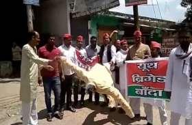 भारत बंद पर सपा कांग्रेस ने पीएम मोदी की निकाली प्रतीकात्मक शव यात्रा, किया अन्तिम संस्कार