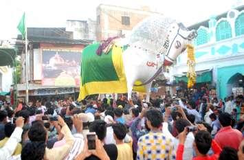 तंग गलियों से निकले एशिया के सबसे बड़े दुलदुल, देखने के लिए सैकड़ों लोग जमा हुए
