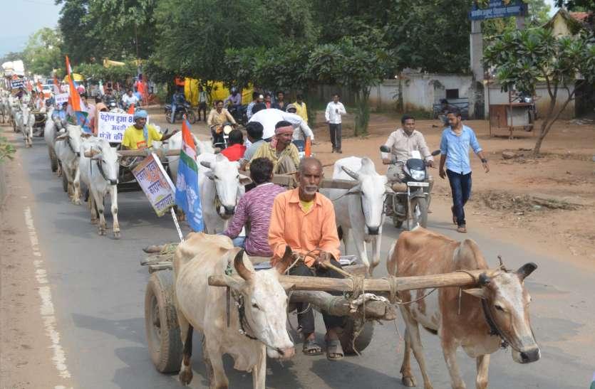 पेट्रोल डीजल में मूल्य वृद्धि के विरोध में कांग्रेस ने निकाली बैलगाड़ी रैली