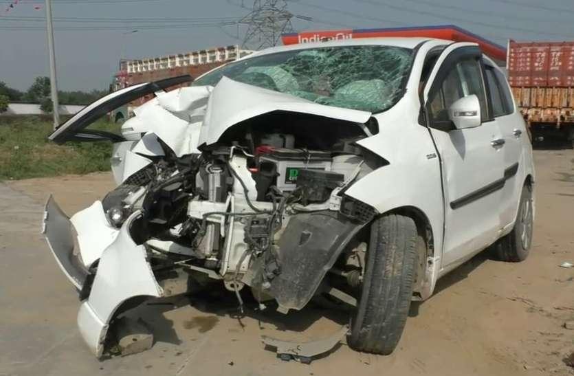 तेज रफ्तार कार डिवाइडर से टकराई, बदायूं के तीन लोगों की मौके पर मौत, दो गंभीर