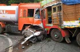 हादसा : खड़े ट्रक से जा भिड़ा दूसरा ट्रक, 2 की मौत, घंटों प्रयास के बाद निकाला गया शव