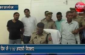 कासगंज पुलिस को बड़ी सफलता, तीन दिन में 116 अपराधी गिरफ्तार, देखें वीडियो