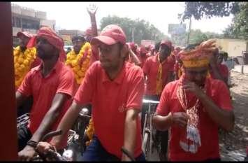 सपा की साइकिल यात्रा पहूंची मथुरा, भाजपा पर जमकर साधा निशाना
